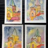 Grusskarten mit Werden-Motiv, Aquarell, 10x15