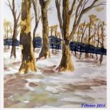 Winterwald, 2010, Aquarell, 36x48