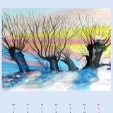 Kopfweiden im Winter, 2014,Aquarell, 50x40