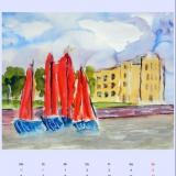 NORDSEE Verwaltung mit roten Booten, 2014,Aquarell, 50x40