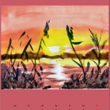 Sonnenuntergang am See, 2009,Aquarell, 48x36
