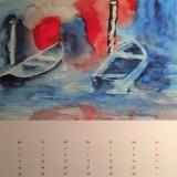 Flusskahn im Nebel, 2014 Aquarell, 50x40