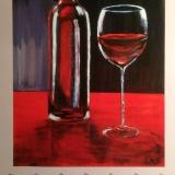 """Stillleben """"Rotwein"""", 2008, Acryl, 50x70"""
