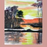 Abendstimmung am See, 2014, Aquarell, 26x34