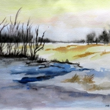 Winter im Cuxland, 2014,Aquarell 27x35