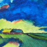 Bauernhof mit gelber Wolkenfront (nach Emil Nolde), 2014, Aquarell, 35x27