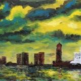 Skyline Bremerhaven, 2013, Öl, 50x30