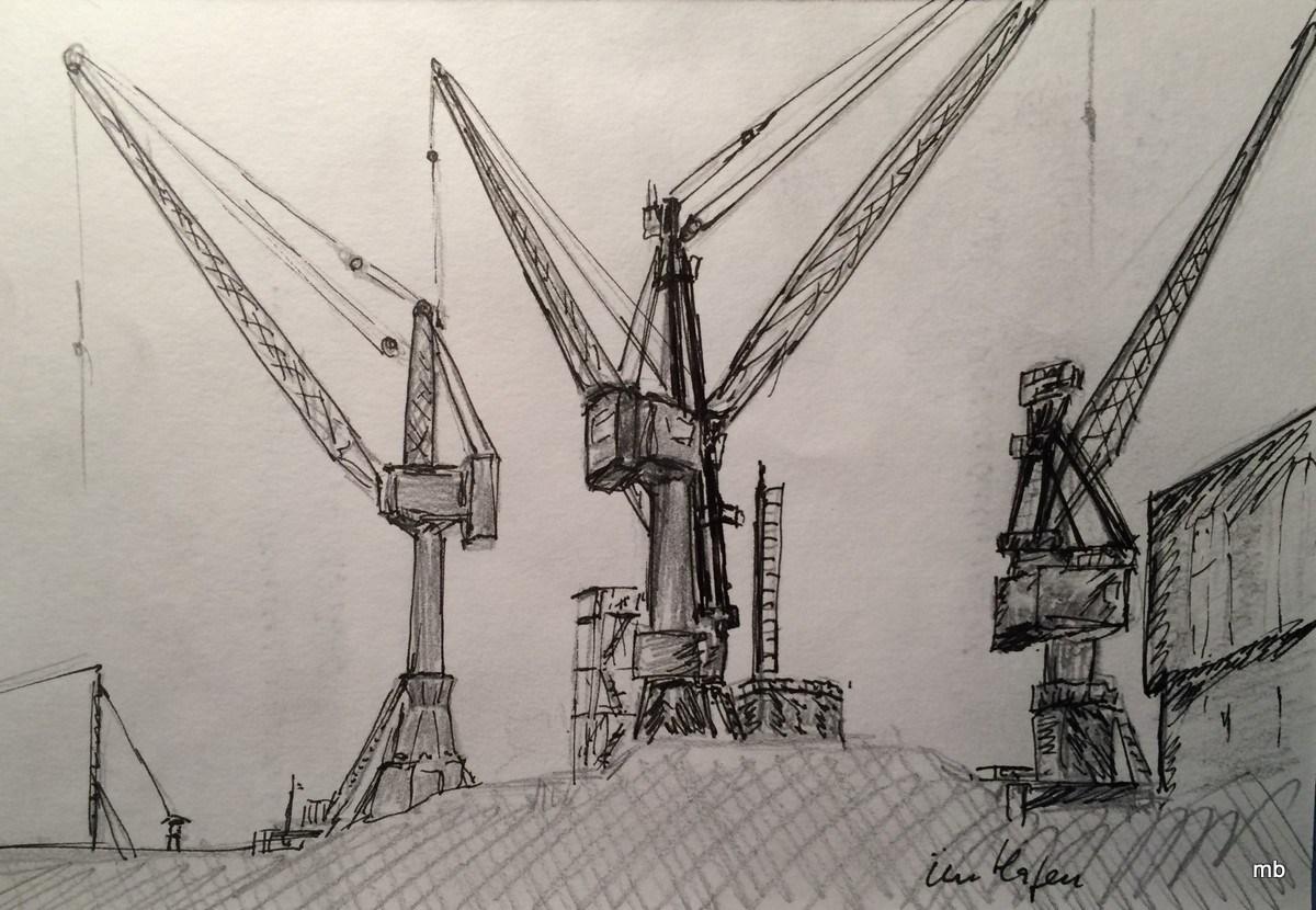 im Hafen, 2016, Bleistift/Fineliner-Skizze 21x14